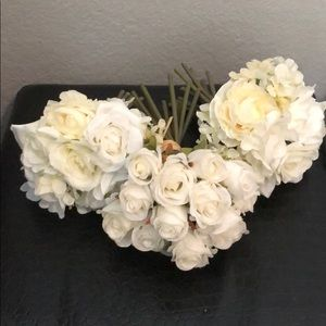 3 small white fake flower bouquets